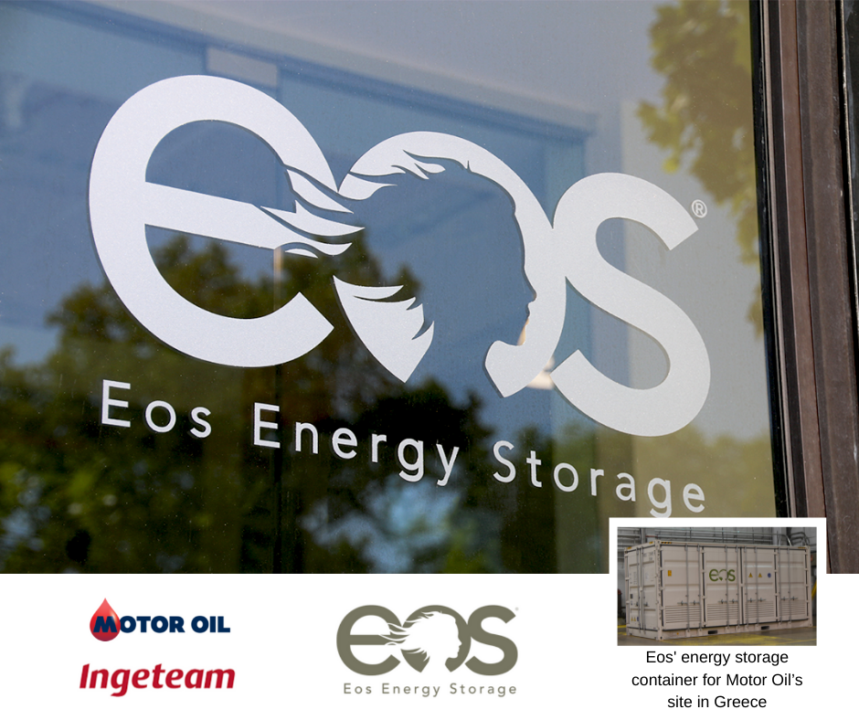 Eos Energy Storage Logo with Motor Oil and Ingeteam Logos